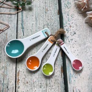 3/$25 Set tablespoons teaspoons ceramic pink blue